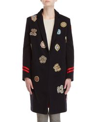 History Repeats - Navy Beaded Appliqué Long Coat - Lyst