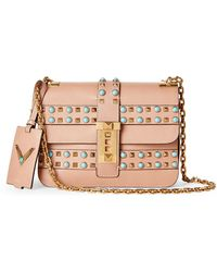 Valentino - Blush My Rockstud Rolling Leather Chain Shoulder Bag - Lyst