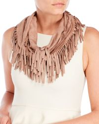 Evelyn K - Faux Suede Fringe Infinity Scarf - Lyst