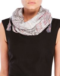Evelyn K - Printed Square Tassel Scarf - Lyst