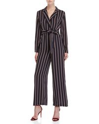 Lush - Shadow Striped Belted Jumpsuit - Lyst