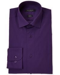 Isaac Mizrahi New York - Eggplant Stretch Slim Fit Dress Shirt - Lyst