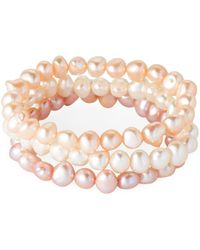 Tara Pearls - Set Of 3 Pearl Stretch Bracelets - Lyst