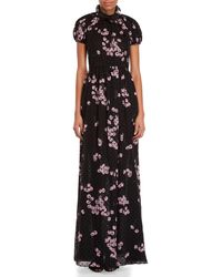 Giambattista Valli - Black Cherry Print Silk Gown - Lyst