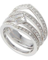 60e9f40e1 Swarovski Pavé Crystal Heart Ring in Metallic - Lyst