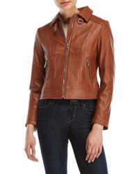 Lauren by Ralph Lauren - Convertible Collar Leather Jacket - Lyst