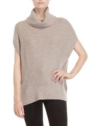 Forte - Cowl Turtleneck Short Sleeve Cashmere Sweater - Lyst