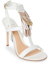 B Brian Atwood - Optic White Fabia Fringe High Heel Sandals - Lyst