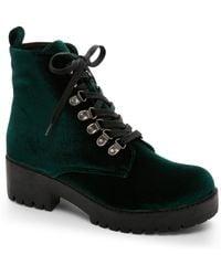 T.U.K. - Green Harper Velvet Hiker Boots - Lyst