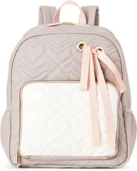 Betsey Johnson - Grey & Cream Ribbon Quilted Backpack - Lyst