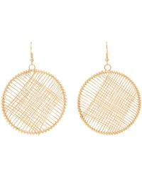 Kenneth Jay Lane - Gold-tone Wire-wrapped Circle Drop Earrings - Lyst
