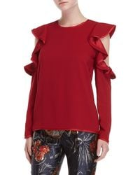 P.A.R.O.S.H. - Ruffled Cold Shoulder Top - Lyst