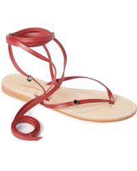 capritouch - Red Leather Ankle Wrap Flat Sandals - Lyst