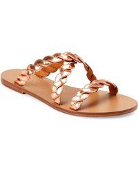 Veronique Branquinho - Copper Leather Flat Slide Sandals - Lyst