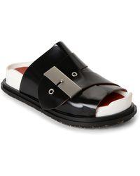 Acne Studios | Black Akua Leather Slide Sandals | Lyst