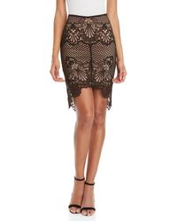 Kendall + Kylie - Black Scalloped Lace Pencil Skirt - Lyst