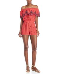 Love Tree - Off-the-shoulder Embroidered Romper - Lyst