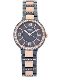 Fossil - Es4298 Blue & Rose Gold-tone Watch - Lyst