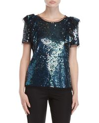 P.A.R.O.S.H. - Sequin Short Sleeve Top - Lyst
