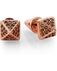 Eddie Borgo - Rose Gold-tone Accented Pyramid Stud Earrings - Lyst