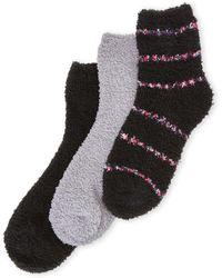 Ellen Tracy - 3-Pack Stripe Cosy Crew Socks - Lyst