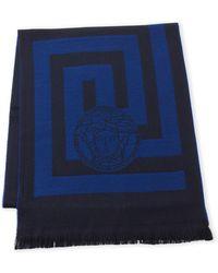 Versace - Medusa Greek Key Wool Scarf - Lyst