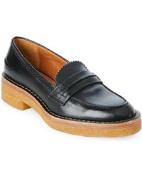 Veronique Branquinho - Black & Honey Crepe Sole Leather Loafers - Lyst