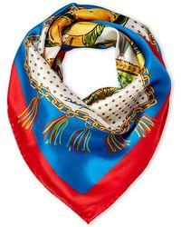Dolce & Gabbana - Red & Blue Silk Scarf - Lyst