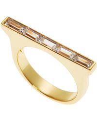 Kacey K - 14K Gold-Plated Rectangular Bezel Ring - Lyst