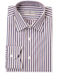 Canali - Blue & Khaki Stripe Modern Fit Dress Shirt - Lyst