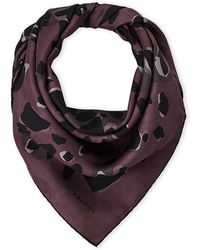 Burberry - Animal Print Silk Scarf - Lyst