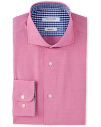 Isaac Mizrahi New York - Fuchsia Ultra-Mini Star Check Dress Shirt - Lyst