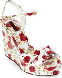 Dolce & Gabbana - White & Red Floral Print Platform Wedge Sandals - Lyst