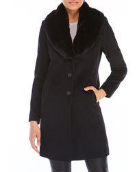 Lauren by Ralph Lauren - Faux Fur Collar Wool Coat - Lyst
