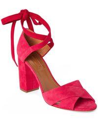 Aquazzura - Paradise Pink Tarzan Suede Block Heel Sandals - Lyst