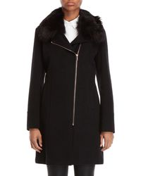 Karl Lagerfeld - Faux Fur Collar Asymmetric Zip Coat - Lyst