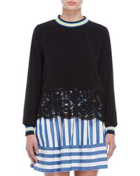 Love Moschino - Black Lace Trim Top - Lyst