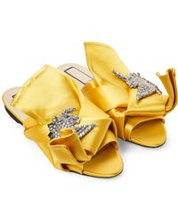 N°21 - Giallo Yellow Embellished Satin Slide Sandals - Lyst