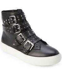 J/Slides - Black Aghast Studded Strap High Top Sneakers - Lyst