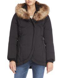 SOIA & KYO - Real Fur Trim Hooded Bibbed Down Coat - Lyst