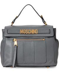 Moschino - Grey Leather Satchel - Lyst