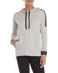 Balance Collection - Net Shoulder Cowl Neck Hoodie - Lyst