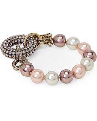 Heidi Daus - Purple Tailored Luxury Pave Faux Pearl Toggle Bracelet - Lyst