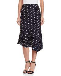 Lush - Polka Dot Asymmetrical Midi Skirt - Lyst