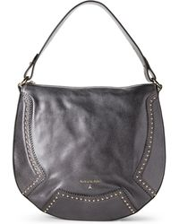Patrizia Pepe - Metal Grey Studded Leather Hobo - Lyst
