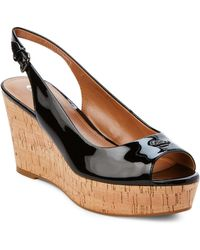 COACH - Shell Ferry Patent Leather Cork Wedge Sandals - Lyst