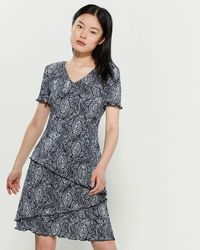 2beb5974 Connected Apparel - Navy Printed Short Sleeve Dress - Lyst