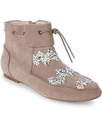 House of Harlow 1960   Taupe Monty Beaded Booties   Lyst