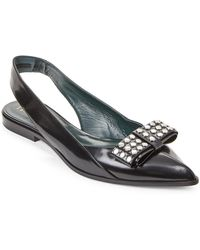 Mulberry - Black Studded Bow Leather Slingback Flats - Lyst