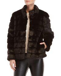 Karl Lagerfeld - Black Faux Fur Topper Coat - Lyst